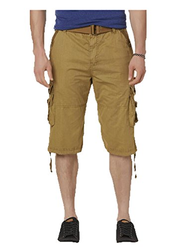 Rebel & Soul Men's Cargo Shorts & Belt. Size: 34W. Color: British Khaki.