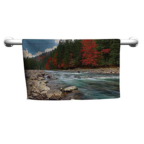 flybeek Premium Lake House Decor Collection,Mountain River in Autumn Time Rocky Shore Colorful Forest Alps Pine Trees View,Scarlet Green,Suction Towel bar for Shower