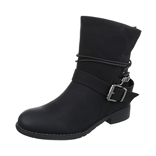 Ital-Design WoMen Biker Boots Black