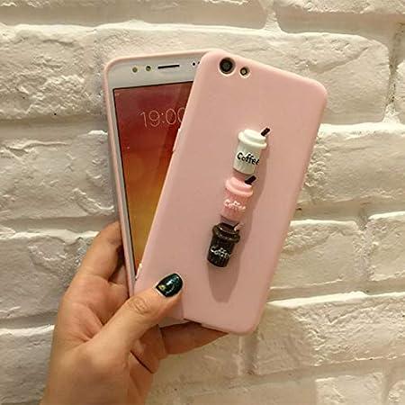 Jipai(TM) Carcasa TPU Silicona Suave con Decoración de Botella de Leche y Taza de Café para iPhone 8 iPhone X Fundas Estilo Kawaii para Mujer y Jovenes ...