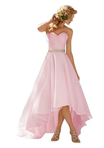 Aurora Bridal Reg; Aurora Reg Mariée; 2016 Organza Hi-lo Wedding Bridesmaid Dress Evening Gown Light Pink 2016 Organdi Robe De Soirée De Demoiselle D'honneur De Mariage Salut-lo Robe Rose Clair