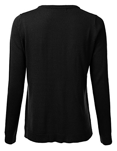 FLORIA Womens Crewneck Long Sleeve Soft Pullover Knit Sweater Top w/Ribbed Trim Black S by FLORIA (Image #2)