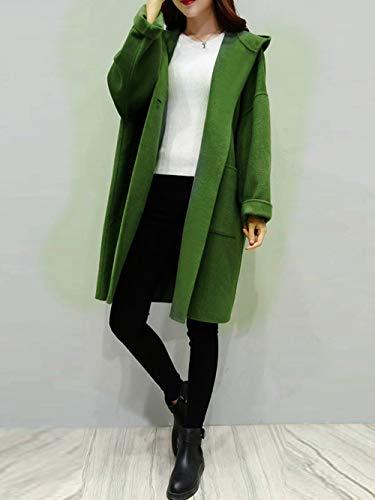 nbsp;cálido Invierno Casual Outwear Mujeres Largo Capa Otoño Cuadros Más A Abrigos El Tjoirej Abrigo Larga Mujer Verde Green nbsp; De Suelta nbsp; Tamaño qz7nAwF