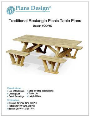 (Traditional Rectangle Picnic Table / Bench Woodworking Plans, #ODF02)
