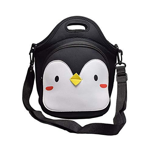 KingBig Neoprene lunch tote with adjustable shoulder strap for children - suitable for school and travel (black - penguin)