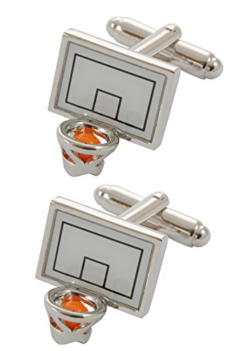 COLLAR AND CUFFS LONDON - PREMIUM Cufflinks WITH GIFT BOX - Basketball - Basket Goal Net Court Match Sport Shoot Ball Hoop Goal - Silver and White Colours