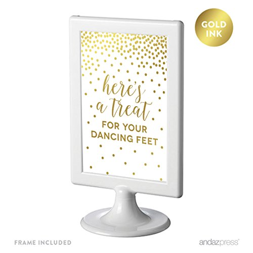 Andaz Press Framed Wedding Party Signs, Metallic Gold Confetti Polka Dots, 4x6-inch, Treat for Your Dancing Feet! Flip Flop Sandals High Heels Shoes Dance Floor Reception Sign, Double-Sided, 1-Pack]()