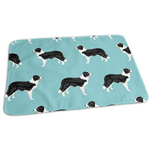 Border Collie Fabric Cute Border Collies Designs Best Dog Fabrics Cute Dog Designs Border Collies Fabrics, Baby Portable Reusable Changing Pad Mat 19.7