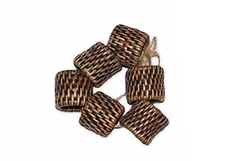 Saffron Trading Company Napkin Ring Round Set of 6 - Antique Brown