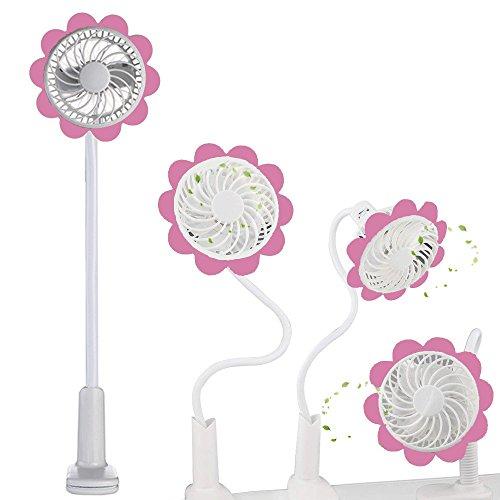 elecfan Bendable Sunflower Mini USB Fan with Clip, Twistable Cute USB Rechargeable Fan, Portable Small Personal Fan for Home Office Travel - Pink by elecfan