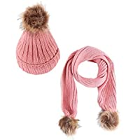 Jastore 2pcs Baby Girls Boys Winter Hat Scarf Set Infant Toddler Knit Warm Hat and Long Scarf