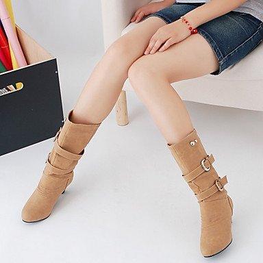 Jaune PU Noir ronde polyuréthane de hiver automne jaune pointe bottes carré confortable chaussures Gris femme Casual pour DESY avec tATHqA