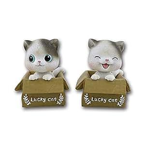 Creative new cute pet cute cartoon cat shaking head ornaments Car interior decoration ornaments (two kittens, plus a delicate non-slip mat)