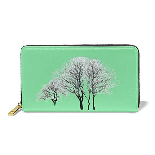 Women Leather Wallet Zipper Around Clutch Purse Waterproof Card Holder Slim Handbag - Snow Tree
