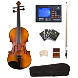Cecilio CVA-500 Ebony Fitted Flamed Solid Wood Viola with Tuner, Case, Bow, Rosin, Bridge and Strings, Size 16-Inch