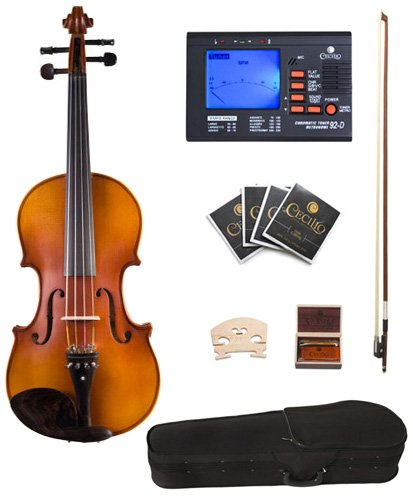 Cecilio CVA-500 16-Inch Ebony Fitted Solid Wood Viola Cecilio Musical Instruments 16
