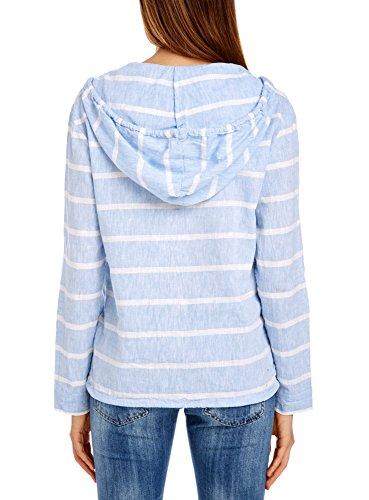 oodji Collection Mujer Blusa de Lino con Capucha Azul (7510S)