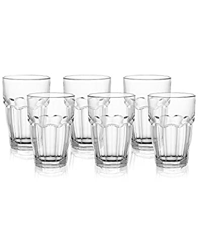Bormioli Rocco 12-1/2-Ounce Rock Bar Stackable Beverage / Cooler Glasses, Set of 6 - 12.5 Ounce Beverage Glass