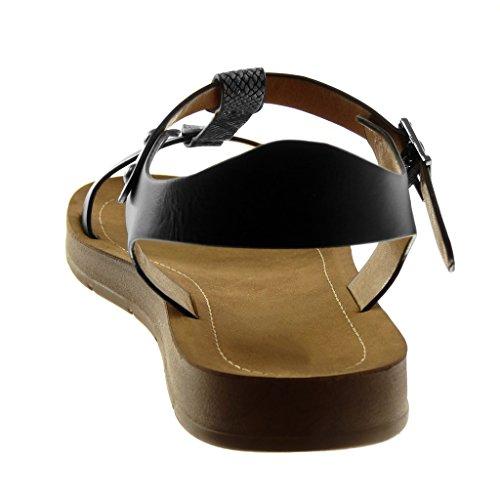 Sandalias Angkorly Moda Cm Tachonado De Tanga Plataforma Negro 2 Zapatillas Correa Tobillo Mujer Serpiente Piel SwqrTSE