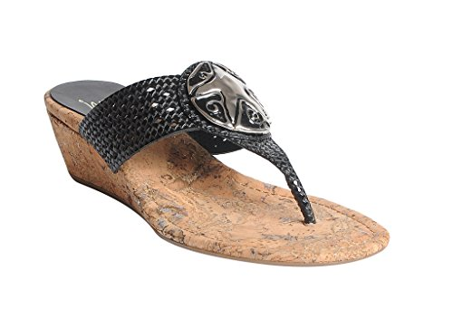 Gleam Wedge (Impo GLEAM Woven Wedge Sandal, Black/Silver Faux Laser Cut, Faux Patent, Ornament, 8.5 B(M) US)