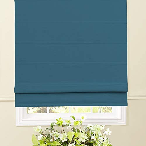 Artdix Roman Shades Blackout Window Shades – Blue 67 W x 60L Inches Fabric Custom Solid Lined Roman Shades Blinds for Windows, Doors, French Doors, Kitchen Windows