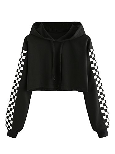 MAKEMECHIC Women's Pineapple Embroidered Hoodie Plaid Crop Top Sweatshirt Black-1 L ()