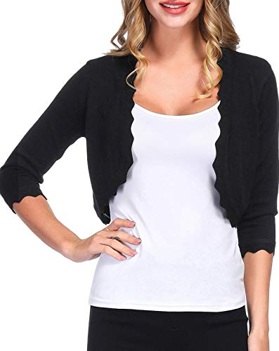 (Vintage Half Sweaters Cardigan for Women Short Sleeve(L, Black 023))