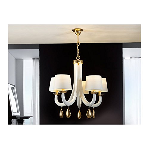 Schuller Spain 432529I4L Traditional white Hanging Ceiling Light Pendant pendant shades ceiling Gold 5 Light Dining Room, Living Room LED | ideas4lighting by Schuller