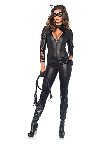 (Leg Avenue Women's 4 Piece Wicked Kitty Costume, Black,)