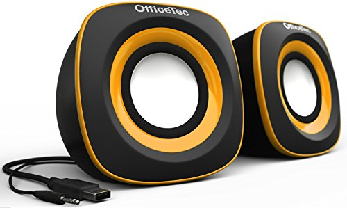OfficeTec USB Computer Speakers Compact 2.0 System for Mac and PC (Orange)