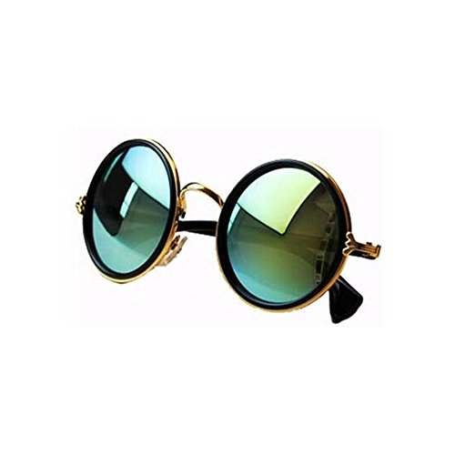 NYKKOLA Unisex's Round Mirror Polycarbonate Sunglasses - Gold Sunglasses Mirror
