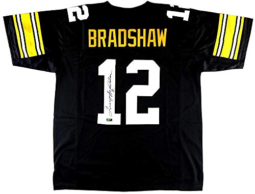 Terry Bradshaw Signed Jersey - Black Throwback Custom - Autographed NFL Jerseys Autographed Nfl Throwback Black Jersey
