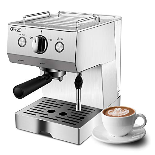 Espresso Machine, Coffee Machine with 15 bar Pump Powerful Pressure Coffee Brewer, Coffee maker with Milk Frother Wand for Cappuccino Latte and Mocha, Silver, Stainless Steel, 1050W