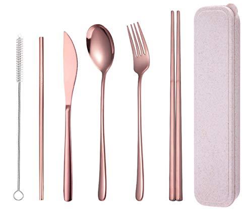 AARainbow Stainless Steel Flatware Set Portable Reusable Cutlery Set Travel Utensils Set Including Chopsticks Knife Fork…