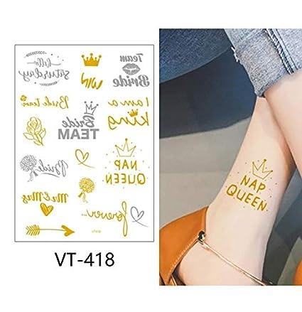 slldyax Etiqueta engomada del tatuaje temporal metálico falso ...