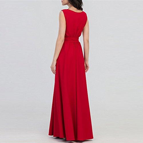 Mangas de Redondo Ceremonia Coctel Mujer Corte Cuello Sin Rojo Vestido para Plisado Yujeet Elegante Imperio Partido Vestidos vxnA8OO