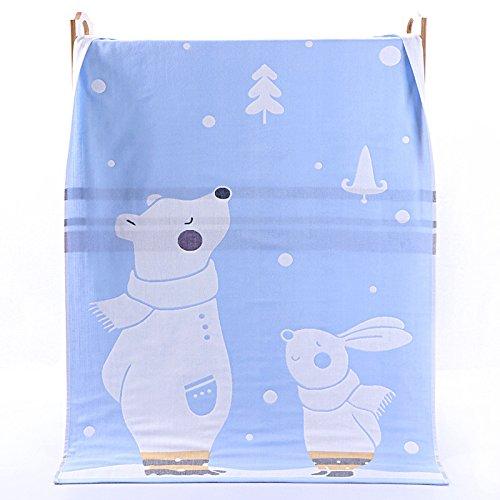PENG Kids Bath/Beach/Pool Towel Girls Boys Cute Cartoon Animal Full Vitality,100% Cotton (Bear rabbit blue