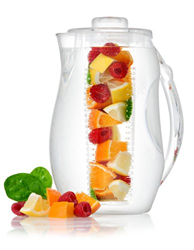 (Perlli Tea Infuser Water Pitcher - 2.5 liter Clear Plastic Flavor Pitcher with Lid and Spout For Fruit Infusion - Large BPA Free Glass Look Loose Leaf Tea Pitcher with Ice Core Rod For Chilling Drinks)