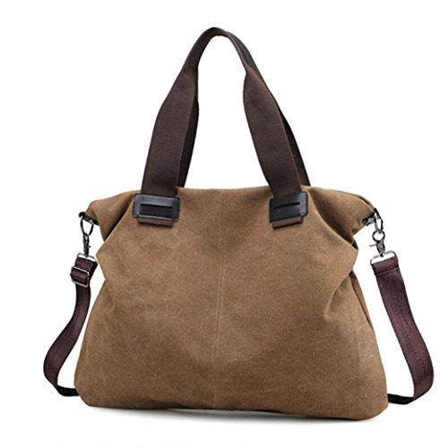 la de Mujeres de la lona bolsa ocasional la Marrón de de mujeres de viaje de Bolso las moda del mensajero hombro ZZ45qfw