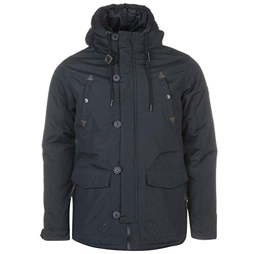 Pierre Cardin Mens Shell Parka Jacket Winter Coat with Hood and Warm Padding (Small, Navy)