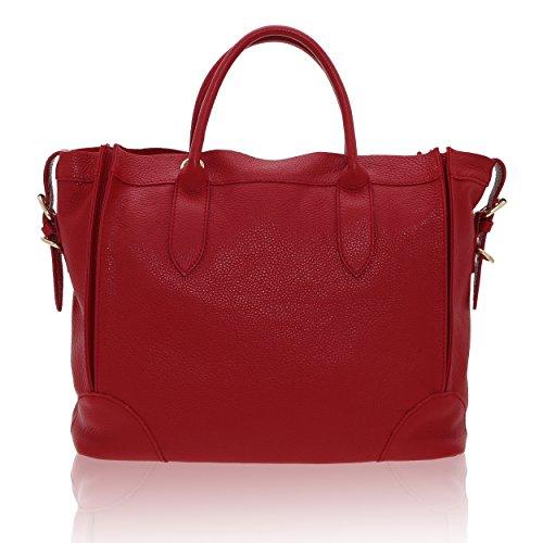 Cuero De Rojo Chicca Borse Bolso 15 37 Auténtico Mujer X Italy En 30 Cm In Made EXRXqCw