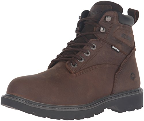 Wolverine Men's Floorhand 6 Inch Waterproof Soft Toe-M Work Boot, Dark Brown, 11 M US (Moc Toe Steel Toe Eh 6 Work Boot)