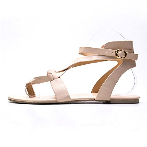 Trim Pump Platform (TnaIolral Women Shoes Ladies Cross Strap Flat Ankle Roman Sandals)