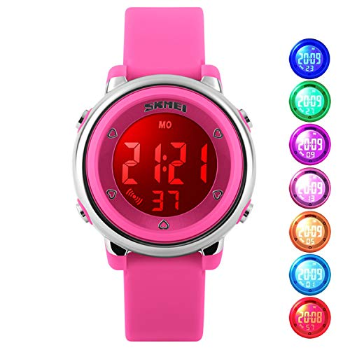Girls Digital Waterproof Watch, Kids Sport Outdoor Electrical Watches Colorful Luminescent Children Wristwatches with Alarm and Stopwatch - Pink ()