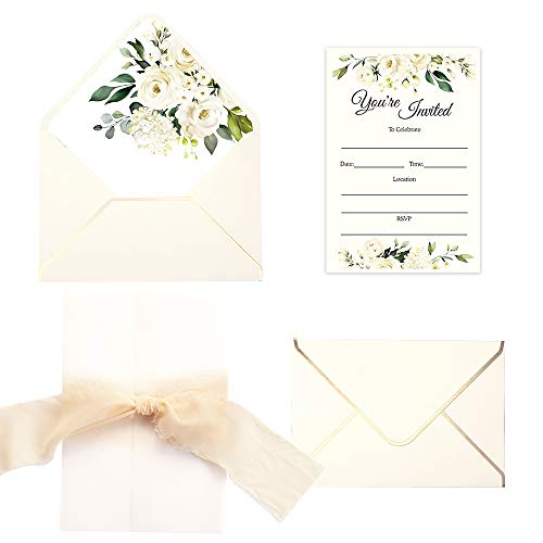 Doris Home 250 GSM 5 x7.3 inch Invitations Cards with Envelopes and Printed Inner Sheets Baby shower (Cream Flower) (Cream Flower)