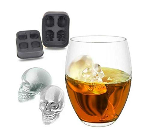 Skull Ice Cube Tray Mold. Party Scotch Fun Halloween Whiskey Gift Idea Dessert Chocolate -