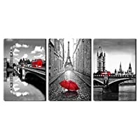 Eiffel Tower Canvas Wall Art Red Umbrella Decor - Black White London Bridge with Red Bus Picture Painting on Canvas Framed Artwork for Living Room Bedroom Office Home Decor 3 Panel