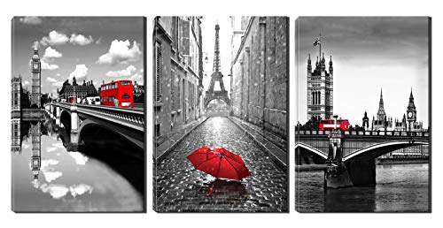 Xinqi art 3 Panels Black and White Pairs Eiffel Tower with Red Umbrella London's Big Ben Clock with Red Bus Canvas Wall Art, Ready to Hang for Living Room Bedroom Office (16X24inchX3) (Pair Art)