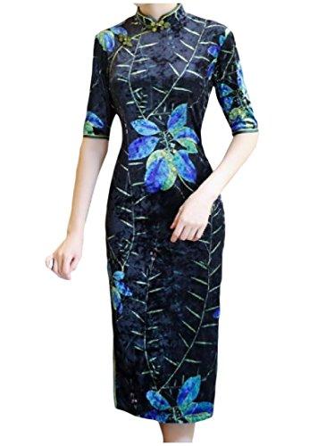 Size Velour Plus Comfy Women 3 Bodycon Classic Long Dress Printed Pencil qCOnHxwnE