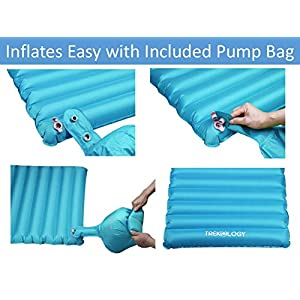Ultralight Sleeping Pad, Inflating Camping Mattress w/Air Pump Dry Sack Bag - Compact Lightweight Camp Mat, Inflatable Backpacking Gear as Tent Pads (Teal Blue with Built-in Pillow)